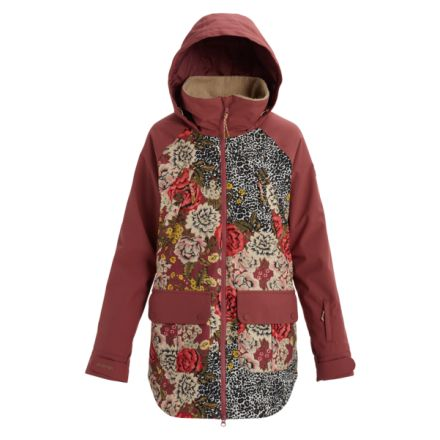 Burton Prowess Jacket Cheetah Floral Rose Brown
