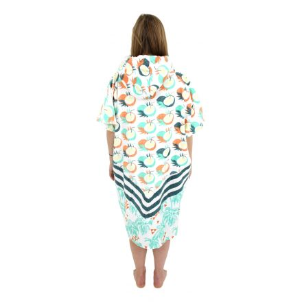 Poncho All In V Bumpy Line Coconut