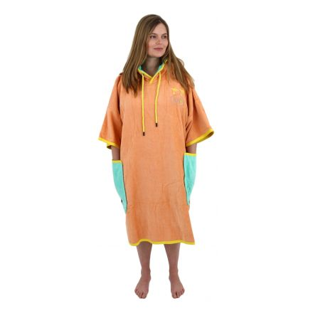 Poncho All In T Bumpy Line Melon Turquoise